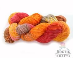 Autumn leaves hand dyed 100% superwash merino wool by Arctickrafts                                                                                                                                                                                 More