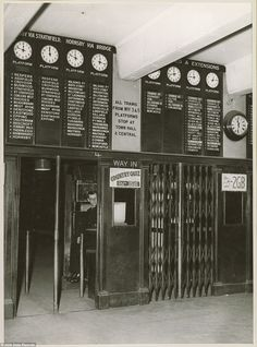 Departures indicator boards and clocks, above entry barriers at Wynyard Railway Station Dated: 27 August 1948 www. Wynyard Station, Old Photos, Vintage Photos, Sydney City, Ocean Photography, Vintage Photography, Photography Tips, Queensland Australia, Western Australia