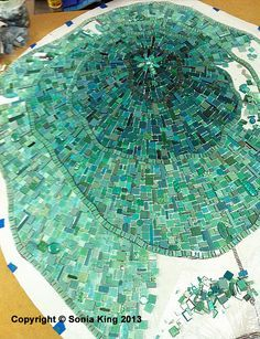 Aquasphere mosaic installation by Sonia King at Children's Medical Center--this pin links to her interesting website. Mosaic Pots, Mosaic Garden, Mosaic Glass, Mosaic Tiles, Glass Art, Tiling, Mosaic Crafts, Mosaic Projects, Leaded Glass