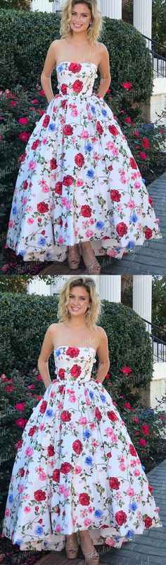 Most Popular Sweetheart A-line Floral Prom Dresses, Chic Prom Dresses, Dresses For Prom, PD0344 #promdresses #floral