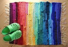 rainbow rag rug, woven on a rigid heddle loom