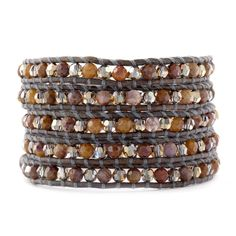 Chan Luu - Pietersite and Bronze Shade Crystal Wrap Bracelet on Natural Grey Leather, $195.00 (http://www.chanluu.com/wrap-bracelets/pietersite-and-bronze-shade-crystal-wrap-bracelet-on-natural-grey-leather/)