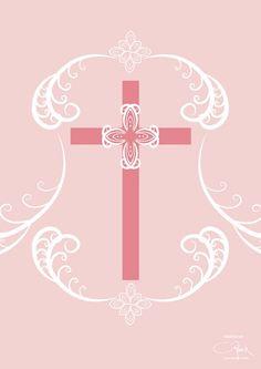 Pink cross with batik kawung ...