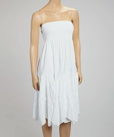 Take a look at this White Shirred Strapless Dress by SR Fashions on #zulily today!