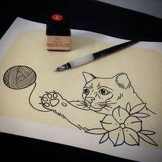 Estudo de gatinho para minha gatinha @riot_tattooart... #estudo #tattoo #tattoo2me #tguest #tattoodo #placetattoo #gato #cat #newhopetattoo #robnagata