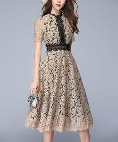 Take a look at this Coeur de Vague | Beige Floral Lace A-Line Dress today!