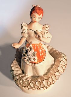 """Vintage Transylvanian Porcelain """"Girl with Apron"""" Figurine in Gold Ruffled Lace"""
