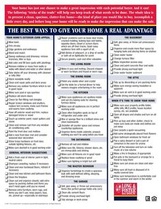 Selling your home - This is an awesome checklist to go through to both attract buyers and pass an inspection with flying colors!
