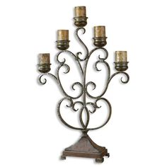 Juliana Candelabra, This hand forged metal candelabra features a finish of orange rust and olive bronze. Antiqued candles included.