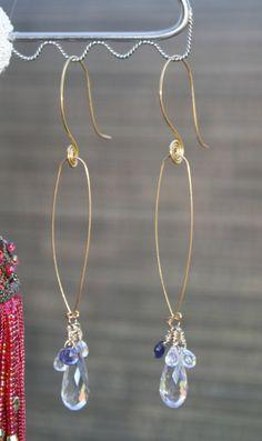 Rose Amethyst, 14kt gold filled Spiral Dangle Earrings