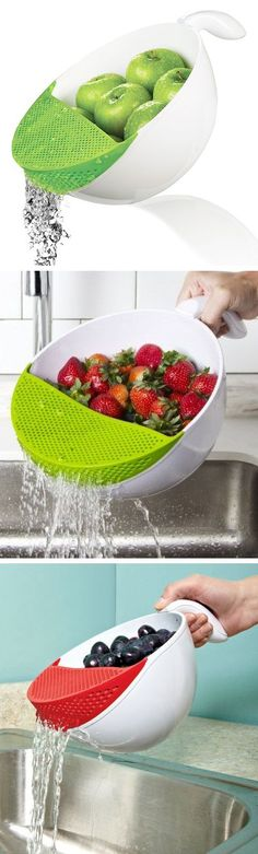 This Art and Cook Colored 5.2 Quart Soak and Strain Washing Bowl will get your fruit or veggies cleaned perfectly every time. This kitchen accessory features an easy-grip handle, non-slip base and one-handed operation.
