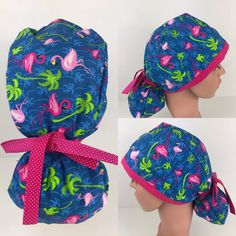Flamingo Ponytail Hat – Oksana's Creations Surgical Caps, Scrub Hats, Drip Dry, How To Make Bows, Making Out, Ponytail, Scrubs, Flamingo, Hand Sewing