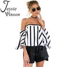 Jessie Vinson Casual Women Stripe Off Shoulder Flare Sleeve Chiffon Top Summer Back Zipper Loose Blouse Summer Shirts