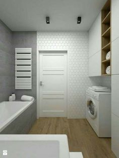 Ideas for bath room tiles grey white Narrow Bathroom, Bathroom Doors, Wood Bathroom, Downstairs Bathroom, Grey Bathrooms, White Bathroom, Modern Bathroom, Bathroom Ideas, Bathroom Storage