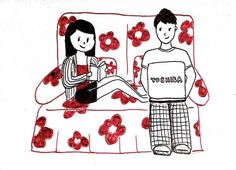 Dibujo de las relaciones a larga distancia. pareja en el sofá leyendo