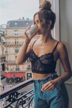 Order the Black Lace Mesh Bralet from In The Style. Day Party Outfits, Summer Outfits, Casual Outfits, Cute Outfits, Pyjama Sexy, Sexy Pajamas, Look Fashion, Fashion Outfits, Fashion Trends