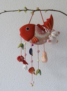 Kawaii fabric handmade fish mobile with lucky charms