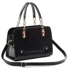 Graceful Patent Leather and Chain Design Women's Tote Bag