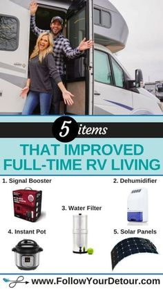 """Full-time RV living isn't always easy and after one year on the road, we've added several items that have helped improve #RV life for us. Here are our top 5 products we recommend for living and working in an RV, road trips, and camping. They'll help you save money, care for your RV, stay connected, and keep a healthy lifestyle. This site also has other great tips, hacks, and destination inspiration for RVing! Check it out! #RVliving #RVlive #RVing #vanlife #musthave #camping #roadtrips""""…"""