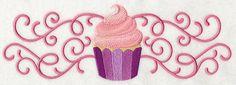 Free Embroidery Design: Sweet Cupcake in Filigree Border