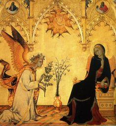 """""""L'Annonciation"""" de Simone Martini (1333). Les attitudes agressive de Gabriel et méprisante de la Vierge me questionnent."""