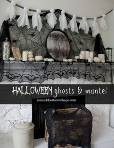 Halloween Ghosts and Mantel from So Much Better with Age   Halloween Favorites at www.andersonandgrant.com