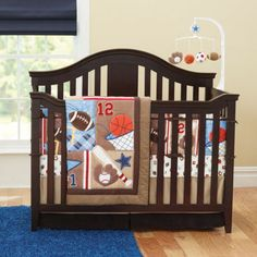 Baby Nursery Bedding Set Sports Boy 7pcs Infant Quilt Per Sheet Dust Ruffle