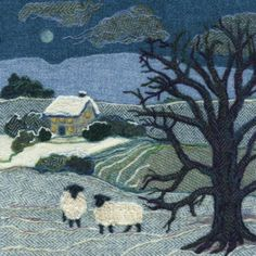 Snowy Sheep – Needle felted Harris Tweed painting by textile artist Jane Jackson. Image available as a greetings card & giclee print in 2 sizes from www.brightseedtextiles.com. FREE UK postage & packing.