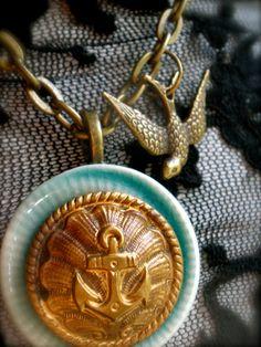 Vintage Anchor Button Necklace with Porcelain by unbuttonedshop, $50.00