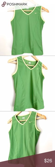 """Nike FIT DRY Green Athletic Tank Top Nike FIT DRY green tank no rips or stains.  It does have some broken stitching in the back on the bottom.  Hem is in tact.   Material  88% Polyester  12% Spandex   Measurements Bust: 15"""" Waist: 13"""" Length: 19""""  Offers welcome! Nike Tops Tank Tops"""