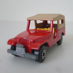 Vintage Matchbox Car / Jeep CJ6 Red toy car by halfpintsalvage