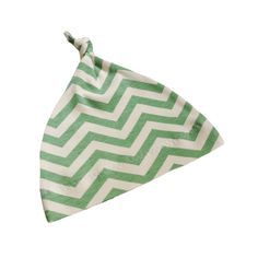 Organic and Eco Friendly Baby Knotted Hat in beautifully soft Cream & Green SKINNY CHEVRONS fabric to give that perfect Modern Edge to your babies