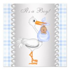 Pearls Blue Gingham Stork Baby Boy Shower Announcement