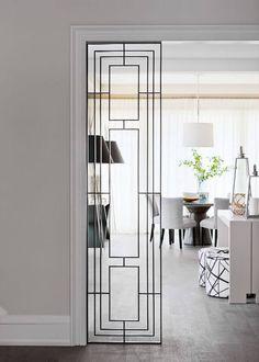 Art Deco style room divider in a monochrome minimalist home | NONAGON.style