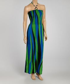 Look what I found on #zulily! Green & Blue Abstract Strapless Dress by Claudia Richard #zulilyfinds