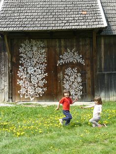 Painted doors in Zalipie, a village in Poland that is painted with flowers.