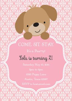 Puppy dog kitty cat birthday party ideas certificate of adoption puppy party invitations puppy birthday invitations for girls single sided printing filmwisefo