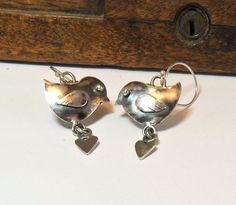 Birdie Heart Sterling Slver Earrings by StudioJewellerybyJo, £28,00