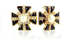 Black Glass Maltese Cross Earrings with Mabe Pearl Centers – Gleem & Co