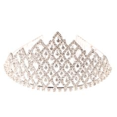 """<P>Sparkle as bright as a beauty queen with this tall tiara. Single crystals dangle loosely from openings in swirled criss-cross design.</P><UL><LI>Crystal design<LI>double secure comb grip<LI>3""""H </LI></UL>"""