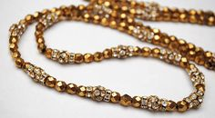 Gold glass and Rhinestone bead necklace  glamour golden