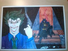 joker e batman pantone e fude pen su carta