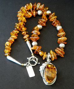 Baltic Amber and Sterling Silver Pendant Necklace with Amber Nuggets, Cognac Amber Chip & Sterling