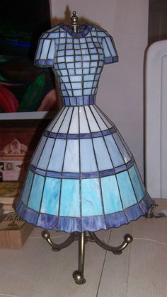 RARE Stained Glass resin? LAMP SHADE & STAND ONLY Dress Shape Sarreid. Sewers