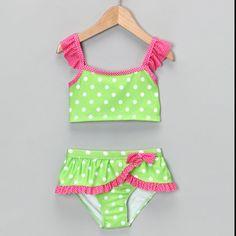 Bought this for Em! Green & Pink Polka Dot Tankini - Infant, Toddler & Girls by Penelope Mack: Swimwear on today! Baby Bikini, Baby Swimsuit, Bikini Swimsuit, Little Girl Fashion, Toddler Fashion, Kids Fashion, Polka Dot Tankini, Cute Bathing Suits, Kids Swimwear