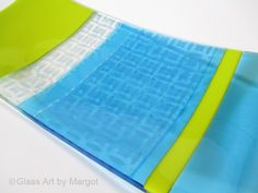 Latest creation  - Aqua Blue Print Lemon Green Fused Glass Tray