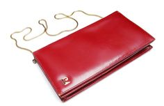 Pierre Cardin Vintage Clutch Purse Bag bordeaux red leather and gold tone strap chain
