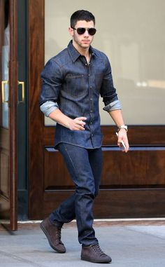 Double dark denim!  The handsome star is seen in New York City.