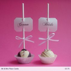 Bride and Groom Cake Pop Place Cards