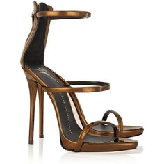 Giuseppe Zanotti Metallic leather sandals ($565) ❤ liked on Polyvore featuring shoes, sandals, heels, sapato, strappy sandals, leather shoes, leather heel sandals, strap heel sandals and high heel shoes